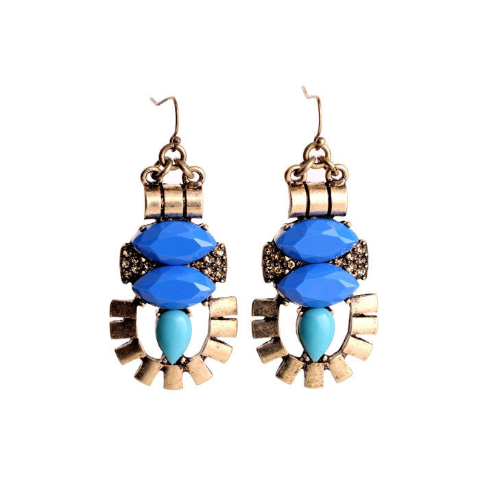 Women Vintage Jewelry Pop Blue Resin Pierced Earrings Ear Accessories