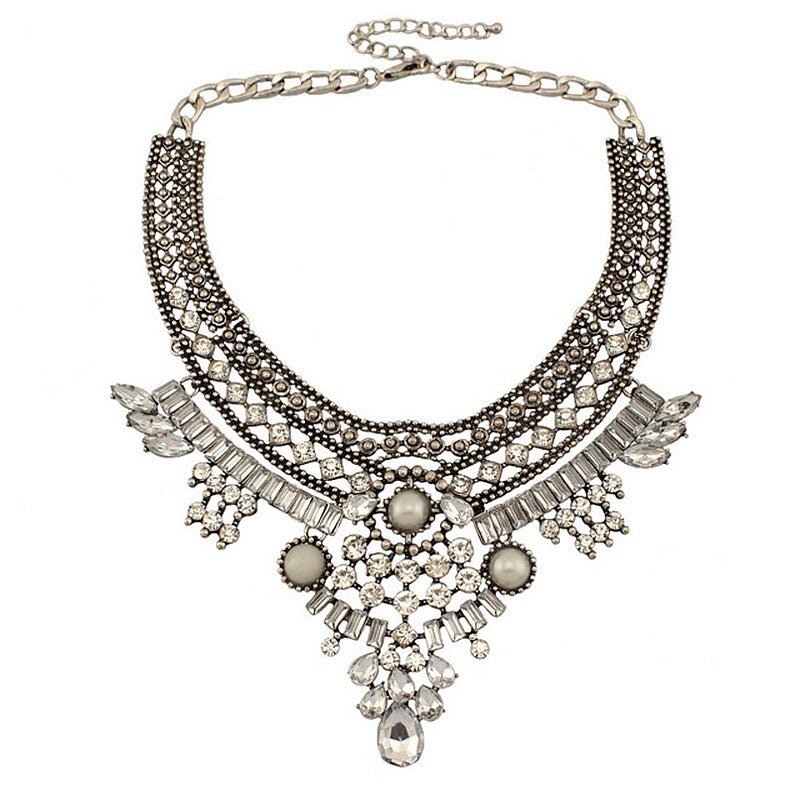 Women Vintage Necklaces Indian Jewelry Ethnic Antique Silver Metal Rhinestones Choker Collar Statement Necklaces & Pendants