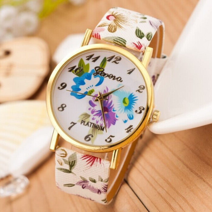 Women Watch Fashion Casual Colorful Flower Quartz Watch Ladies Geneva Watch Women Trendy Wristwatch Relogio Feminino Clock