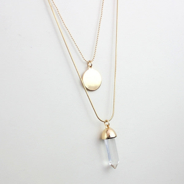 Women double layer alloy long necklace pendant with disc glass plating gold brand designer  summer style