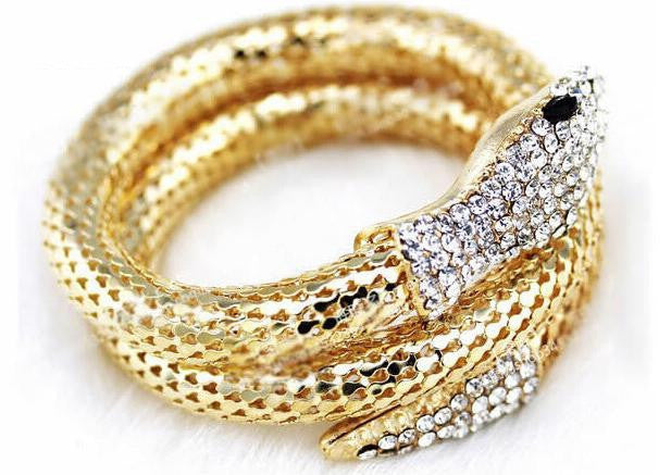 Women's Fashion Snake Bangle Special Realistic Simulated Rhinestone Decoration Female Accessory