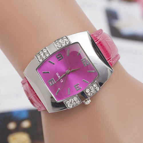 Women's Rhinestone Barrel Shape Case Faux Leather Band Analog Quartz Wrist Watch