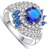 Women's Rings White Gold Plated Fill Inlay Blue Zircon Crystal Jewelry Charms Ring Female Gifts