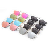 Women's Sunglasses Metal Frame Reflective Coating Mirror Flat Panel Lens Brand Designer Sun Glasses Oculos De Sol