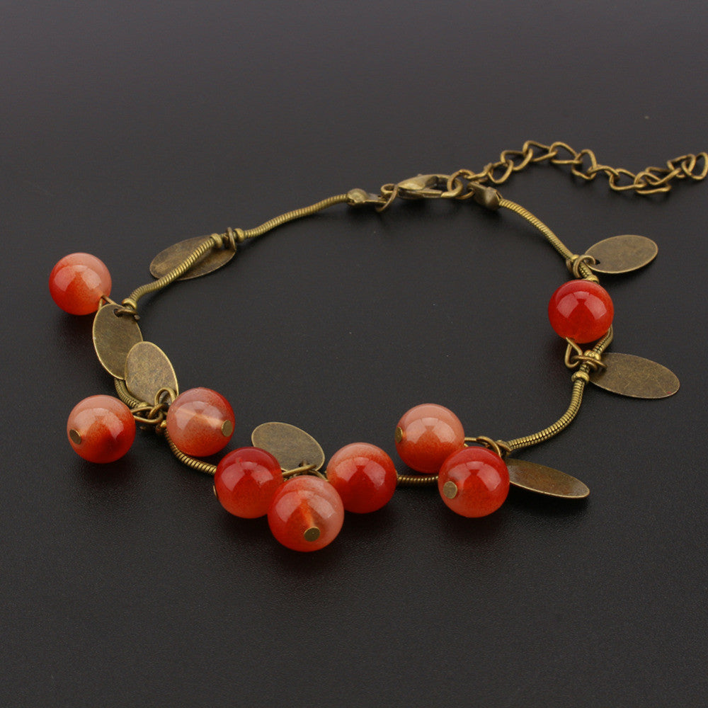 Womens Sweet Jewelry Vintage Retro Red Cherry Beaded Leaf Charm Bangle Bracelet