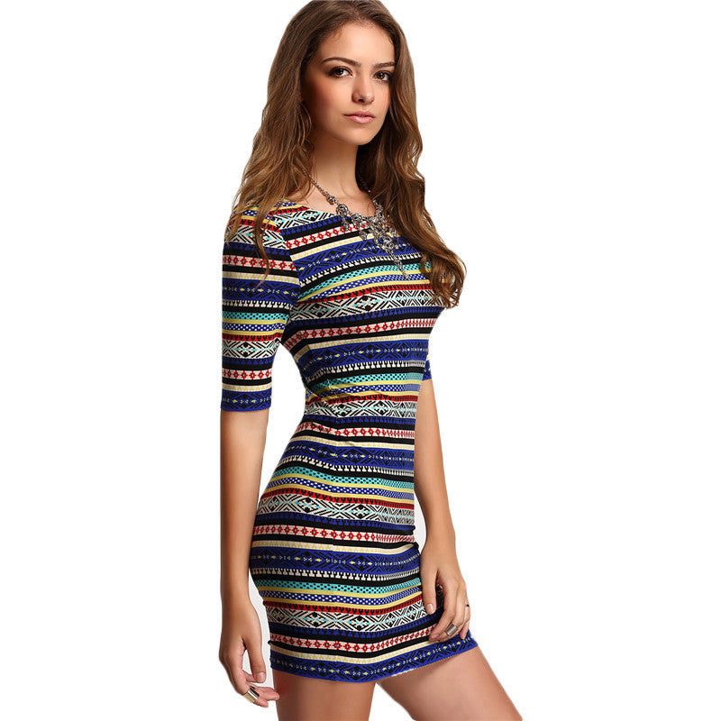 Womens Bodycon Mini Dresses Geometric Summer Style 2016 Sexy Club Multicolor Vintage Print Backless Half Sleeve Dress