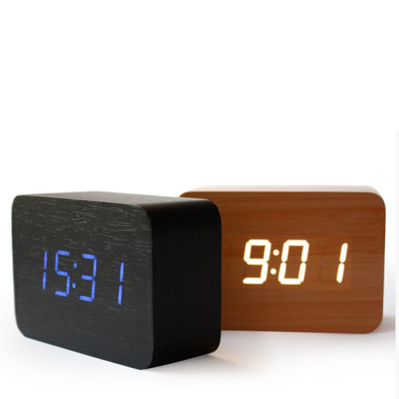 Wood big numbers despertador Bamboo Digital LED clock Calendar Thermometer,Voice control desktop vintage table electronic Clocks