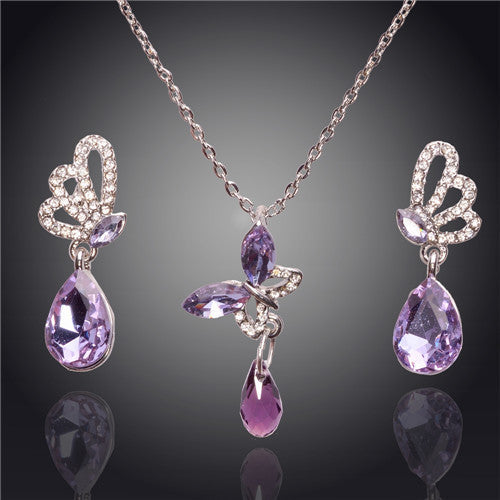 New Austrian Crystal Butterfly Earrings Water Drop Pendant For Women Jewelry Sets Wedding Party Gift