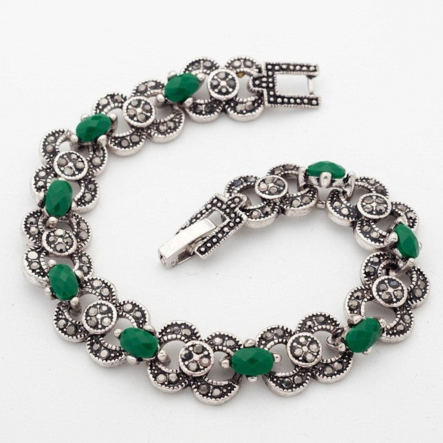 Indian woman Fashion Jewelry Silver Color Bracelets Green Stones Jewelry