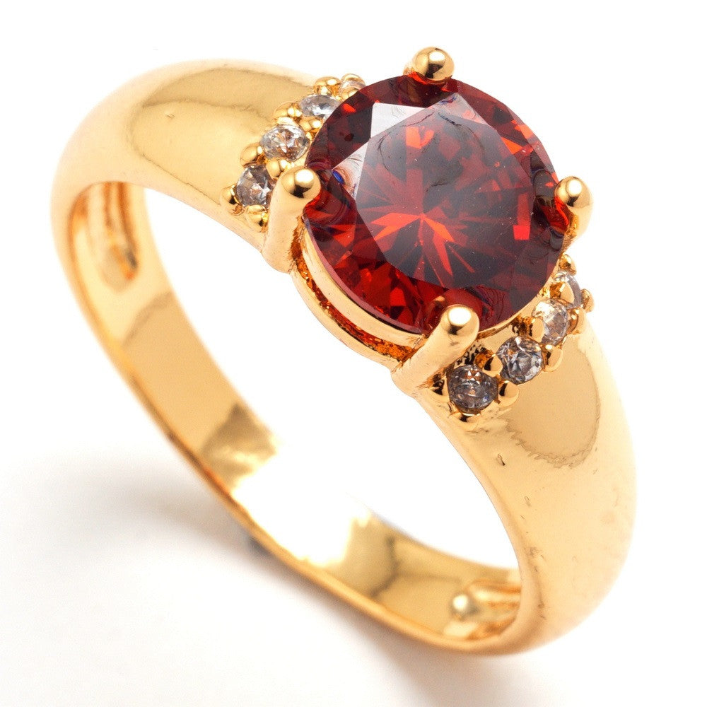 Shiny big Cubic Zirconia Rings For Women synthetic ruby sapphire jewelry yellow gold filled ring