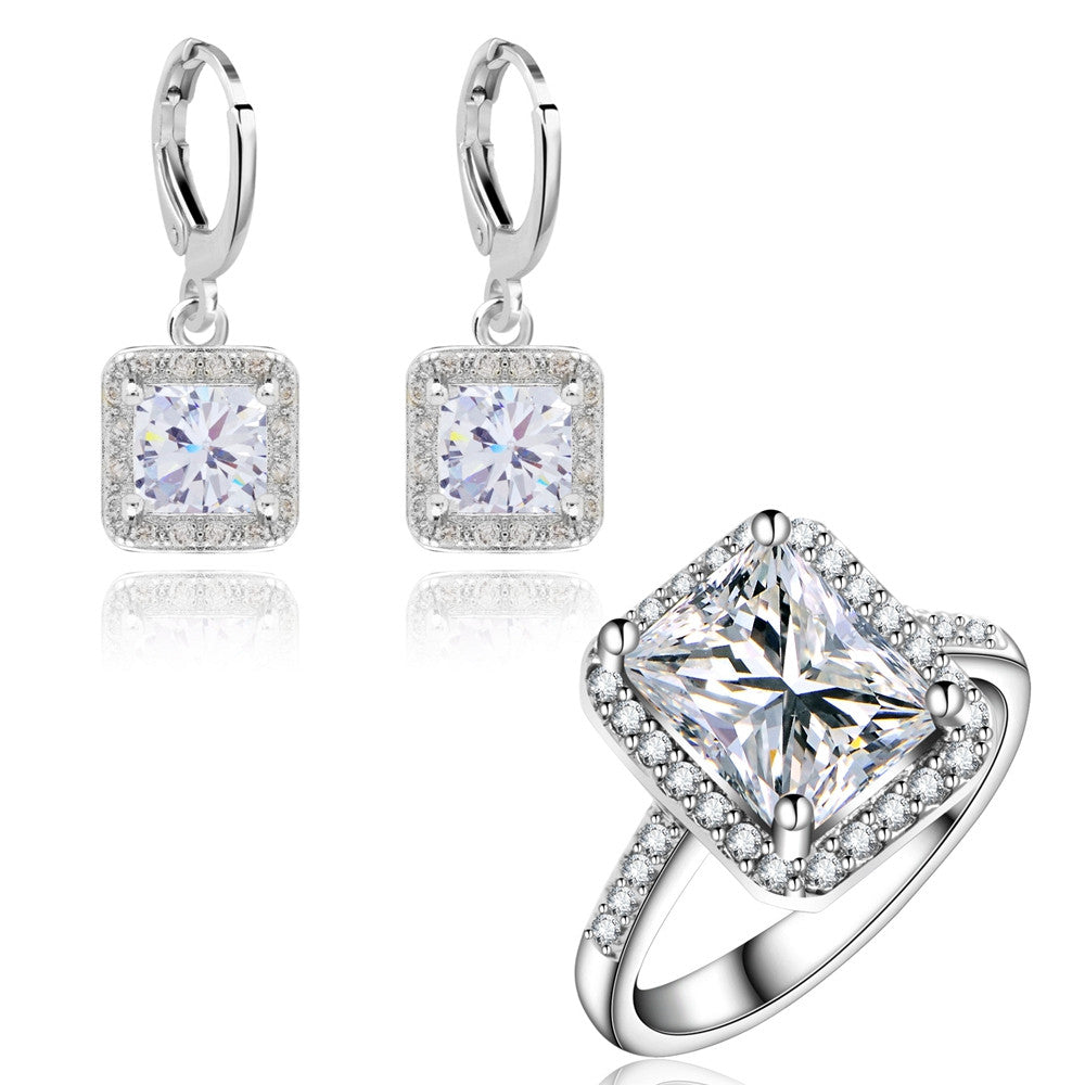 Wedding Jewelry Sets for women Square Design Earrings zircons Engagement Rings White Gold Plated earring