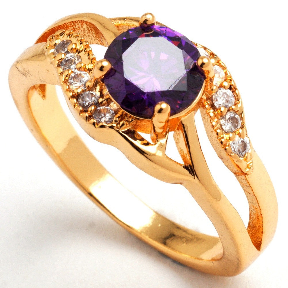 Elegant weeding Rings for women pink Cubic zirconia jewelry yellow gold filled sapphire synthetic ruby ring