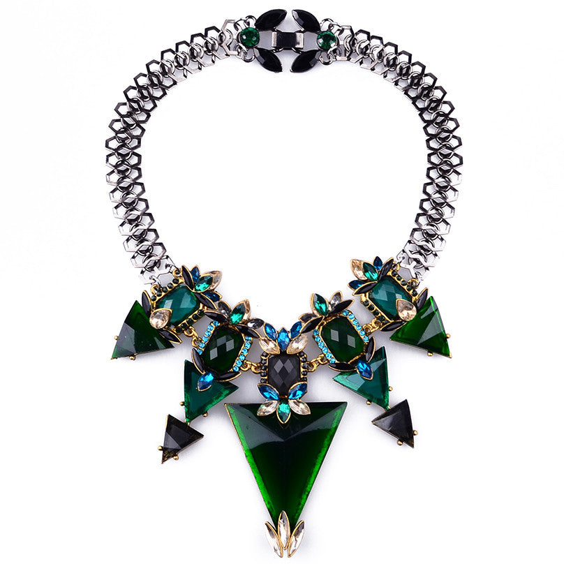 ZA Brand New Luxury Crystal Charm Statement Necklace Choker Collares Necklace Women Fashion Triangle Necklaces & Pendants