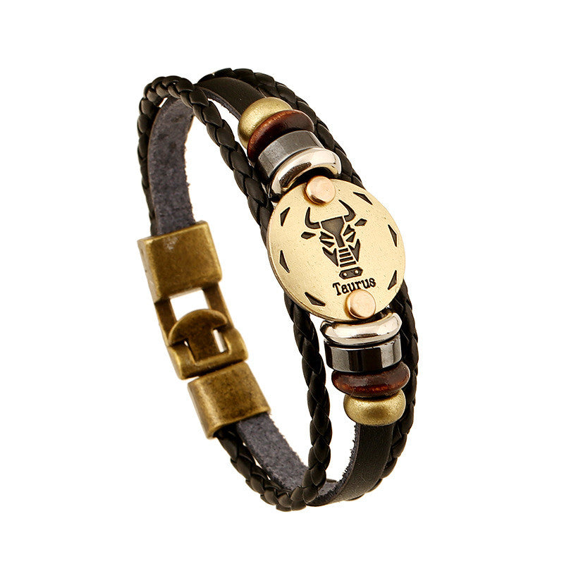 Zodiac bracelet Men vintage bronze Handmade Braid multilayer Genuine Leather Women Wrap Charm Bracelets Bangles Jewelry
