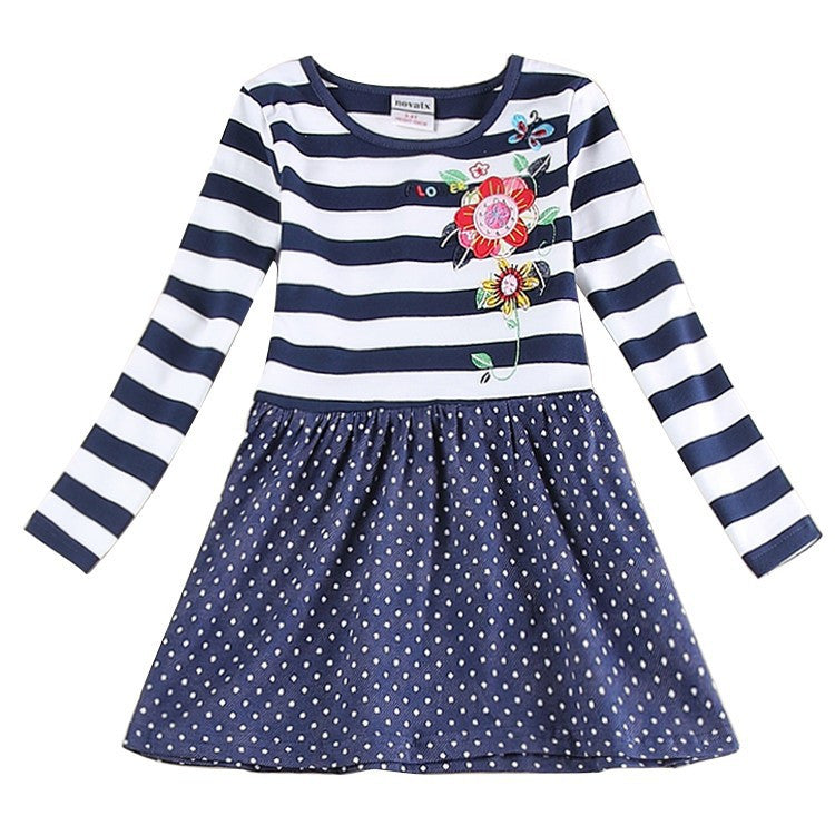 Baby clothes girl cotton embroidery knee length dress kids clothes girl dress floral long sleeves casual dresses for girls