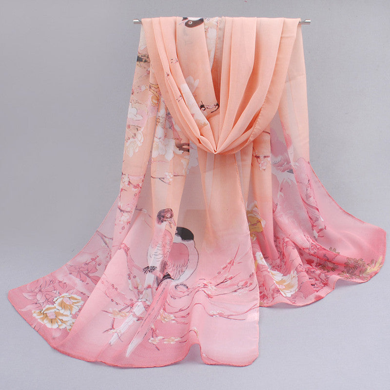 Feminino rushed cachecol skull of spring and autumn thin chiffon silk women summer sun scarves outdoors shawl