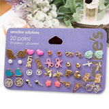 20 Pairs Brincos Mixed Stud Earrings Bird Icecream Stars Cross Flower Love Heart Gift For Women Earrings