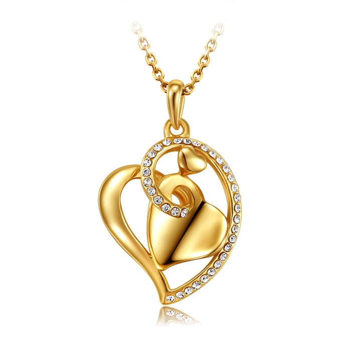 Collar mujer famous brand jewelry 18k gold heart love crystal pendant women fashion necklace female Valentine's Day gift girls