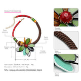 Popular New Colorful Ethnic Statement Flower Choker Necklace for Women Resin Handmade Weave Jewelry for Summer