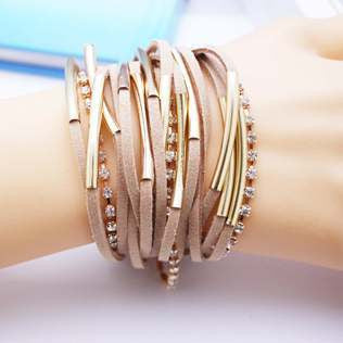 Famous Leather Bracelets Summer Style Setting Crystal Disc Leather Bracelets For Women Gift Jewelry