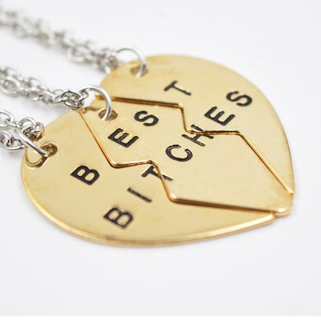 "fashion ""best bitches for you"" pendant necklace for best friends sterling silver&golden chain necklace vintage women necklace"