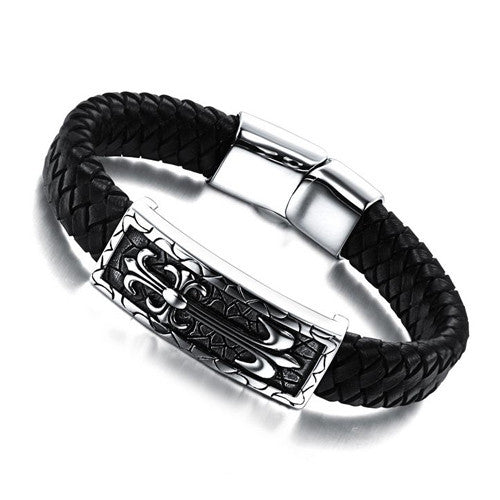 Fashion jewelry Genuine leather titanium steel Bracelets domineering man punk retro pattern male Bracelet