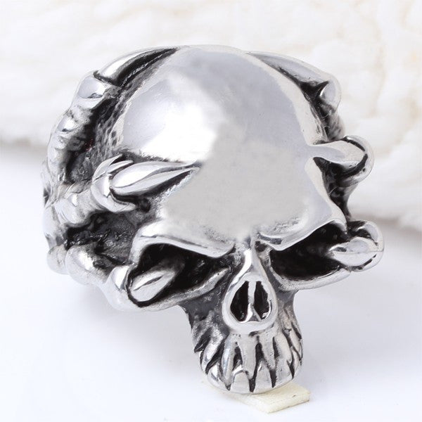 Fine jewelry 316L Stainless Steel Men's Skull Rings Punk Vintage Party Skeleton Jewelry
