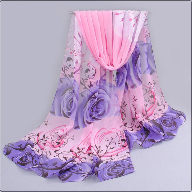 High quality women scarf cotton voile scarves solid warm autumn and winter scarf shawl rose printed