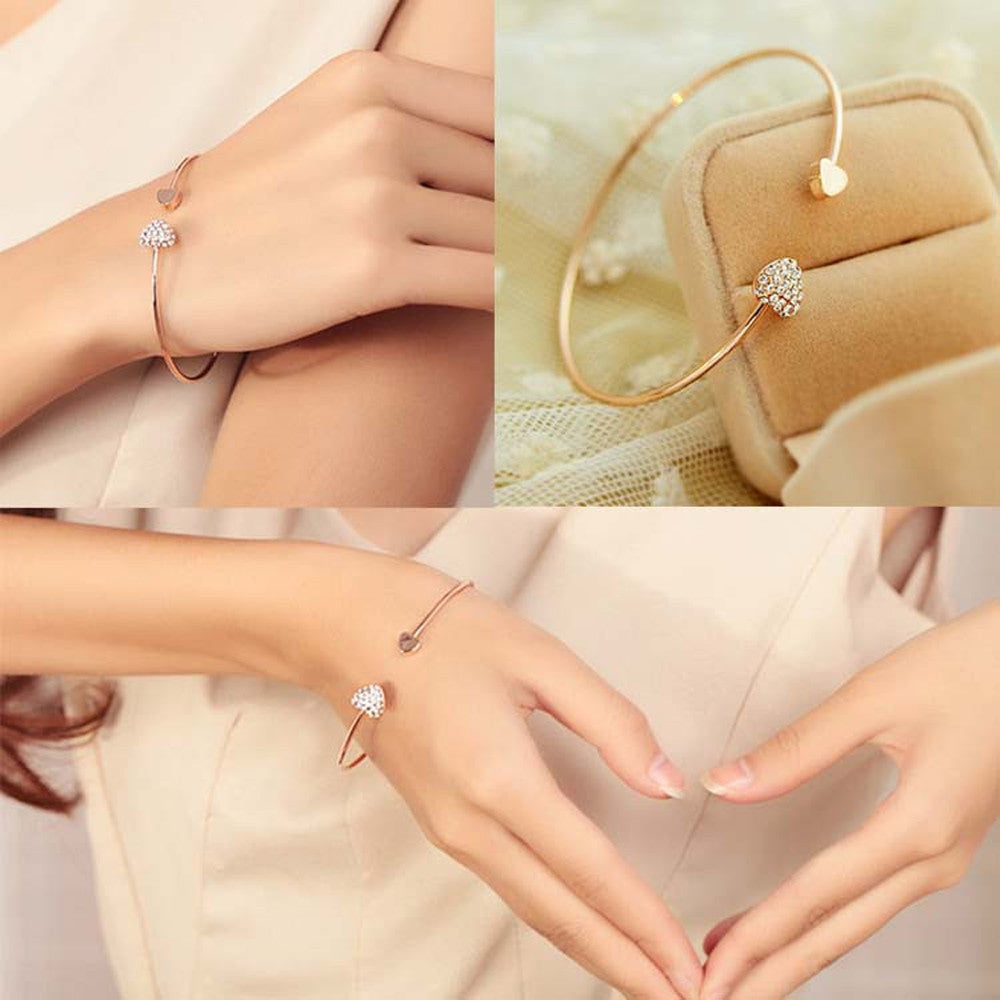 High quality heart with double heart bracelet crystal love opening gold plated bracelet female Accessories