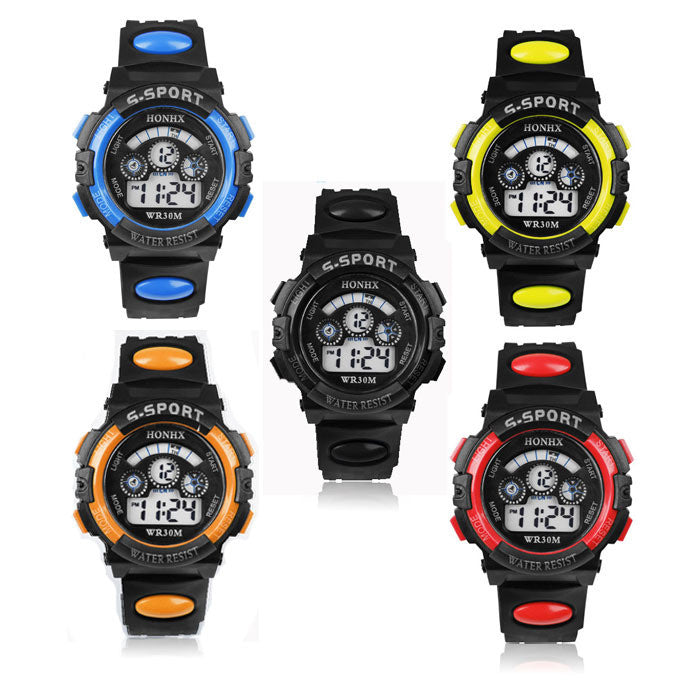 Hot Children Boy Digital LED Quartz Alarm Date Sports Wrist Watch