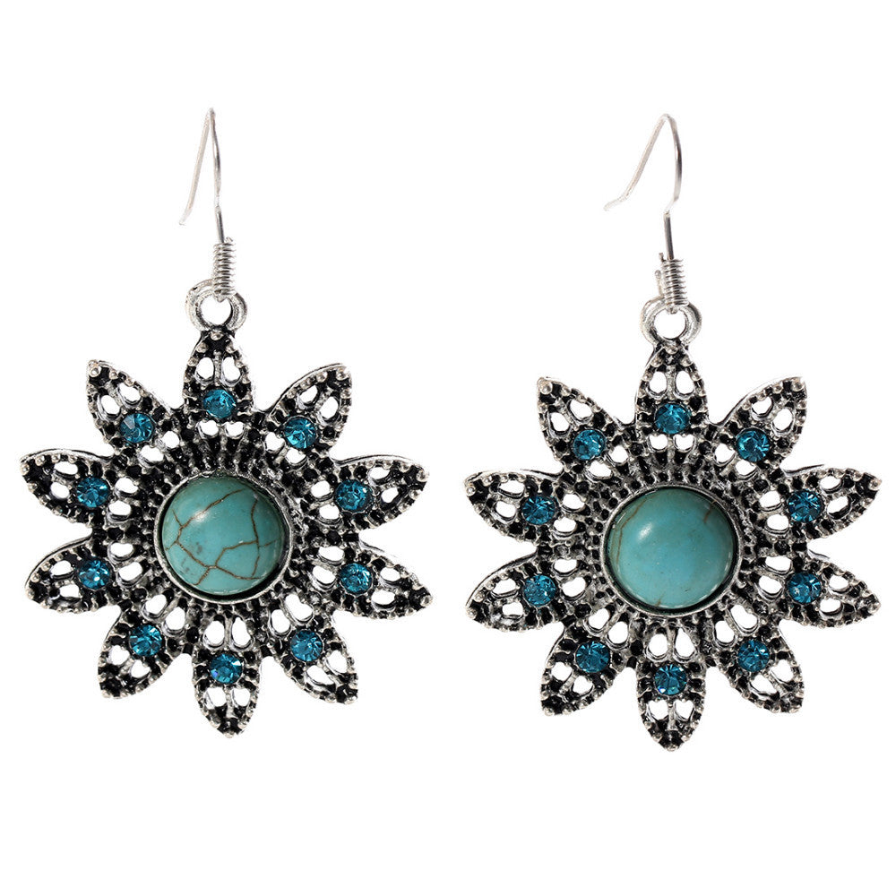 Hot earring Charming Ethnic Tibetan Silver Oval Rimous Turquoise Earring Crystal Drop Dangle Earrings Christmas Gift for Women