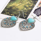 hot selling New Fashion Brand designer Simple Geometric blue gem Bohemia Retro Turquoise earrings jewelry for woman