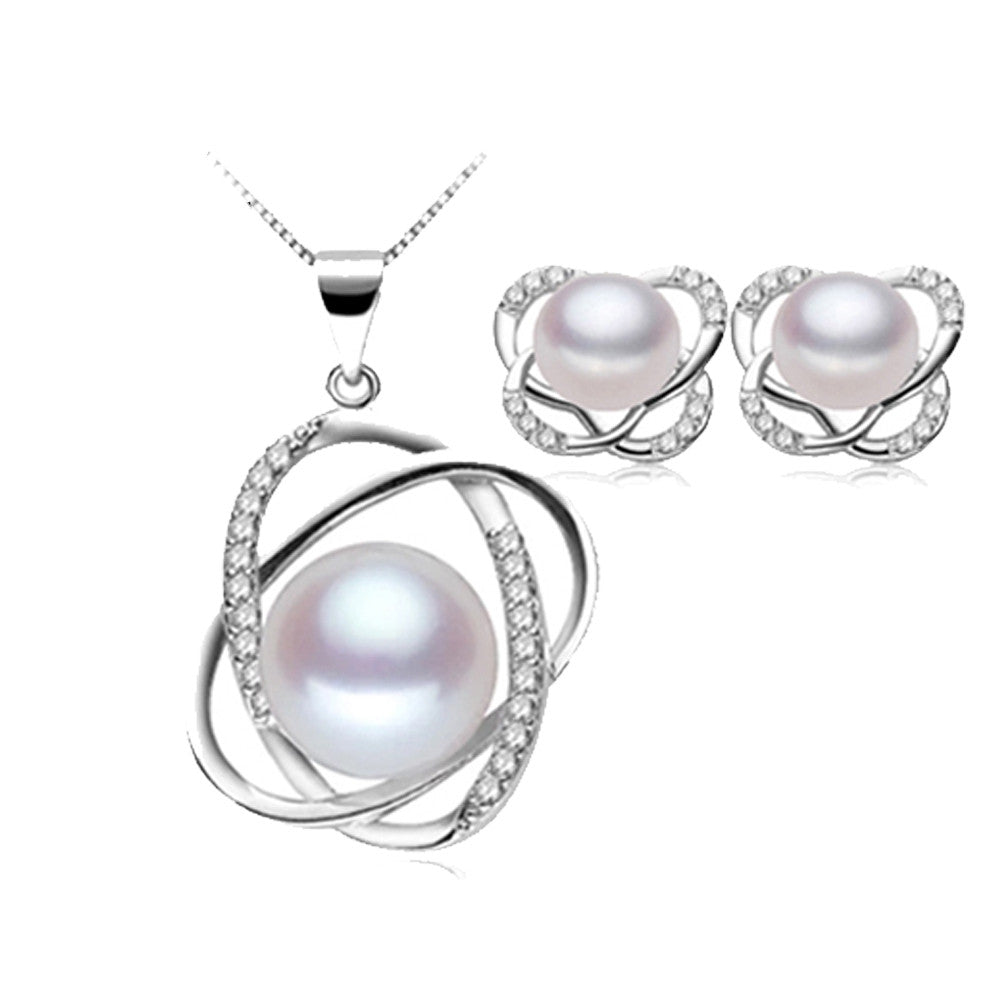 hot selling natural pearl jewelry set for women fashion top quality 925 sterling silver necklace&earrings