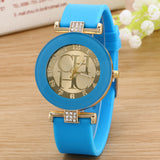 ladies watch new tide comfortable silicone strap quartz watch set auger gold watches selling styles time clocks men watches