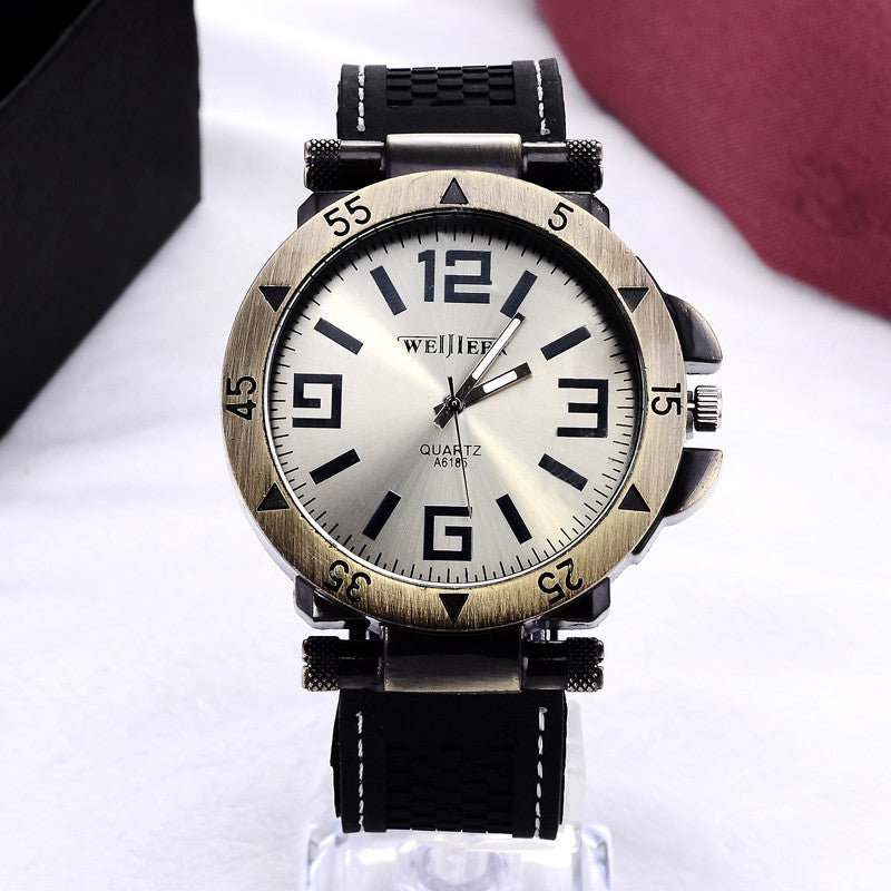 Luxury brand watches men fashion business watch casual rubber quartz watch hombre hour clock