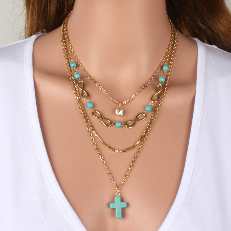 Multilayer necklace fashion accessories gold cross popular maxi female long chain necklaces & pendants statement women jewelry