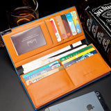 Men wallets famous brand mens long thin wallet male money purses with Flip up ID Window thin long korean walet purse
