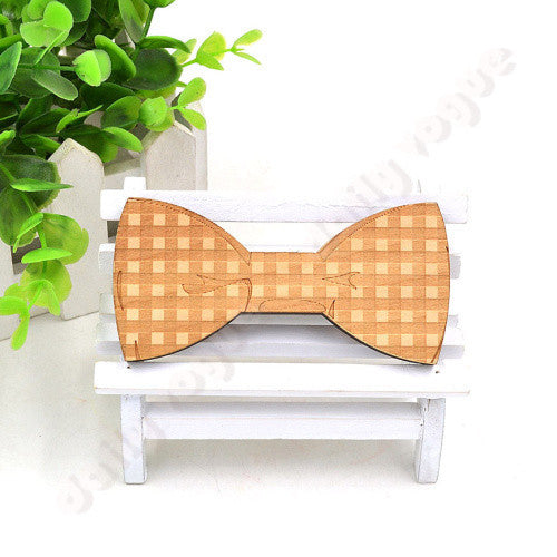 New arrival men wood bow tie matts triangle plaid shape gentleman bow tie