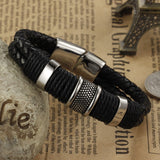 new fashion fine jewelry tide men leather titanium steel bracelets male Vintage bracelet personality gifts