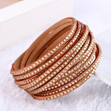 new 6 Layer Wrap Bracelets Slake Leather Bracelets With Crystals Couple Jewelry