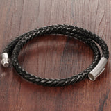new Hot fashion jewelry men's bracelets genuine leather Stainless steel Black Bracelet man Vintage creative Boutique