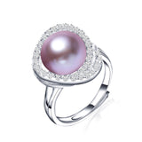 new fashion black pearl ring high quality 10-11 freshwater pearl jewelry for women mother's day gift 925 silver ring