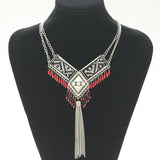 new fashion bohemian power gem tassel collar choker necklace vintage gypsy ethnic necklace women Maxi necklace fine Jewelry