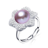 new fashion flower pearl ring 925 sterling silver jewelry for women high luster 11-11.5mm natural freshwater pearl