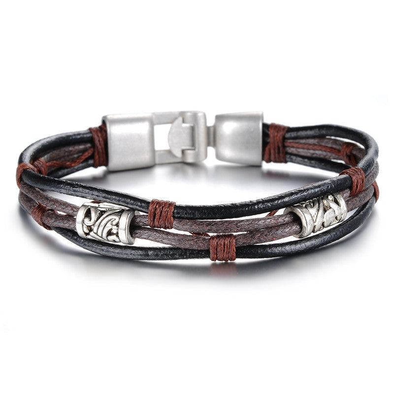 New fashion jewelry hot sale vintage bronze alloy leather men bracelet & bangle creative design Christmas gifts