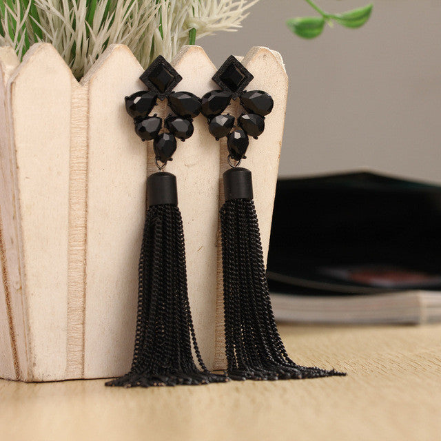 new fashion personality metal chain tassel long earrings rhinestone gold plated jewelry