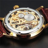 new fashion sewor brand design cool skeleton men clock luxury gold hand wind mechanical leather wrist male business watch