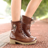 new hot sale Autumn women cool boots Large size 34-40 skull street zip leisure round toe casual lace up ankle boots