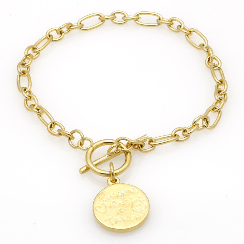 "New Fashion Popular 18K Gold ""Be Yourself"" Letter Pendant Chain Bracelets & Bangles Jewelry For Women"