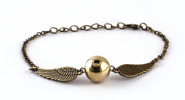 Quidditch golden snitch pocket bracelet wings vintage retro tone for men and women